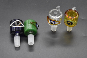Tigela de fumar tigela de olho cor torto Bacia de vidro para água Bongos atacado 14mm 18mm masculino tabaco de vidro tigela de tabaco Tubo Plataformas de Petróleo fumar