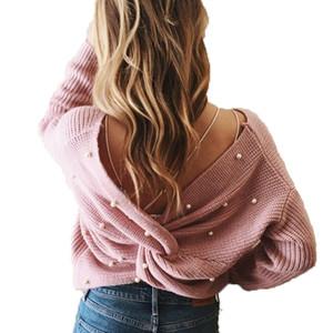 Volver cuello en V con cuentas de perlas Detalle de la torcedura del suéter 2018 de moda de manga larga Plain Jerseys suéteres ocasional de las mujeres que hacen punto del puente