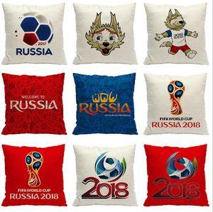 2018 Rusia World Cup Funda de almohada 45 * 45 cm Fútbol Poliéster de lino Funda de almohada Decoración para el hogar Fundas de colchón OOA5002