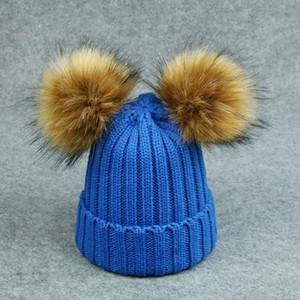 New Children Imitazione Cappello di lana Raccoon Fur lavorato a maglia a doppia palla Cappello di lana Ball New Hat a maglia Twist Ball.