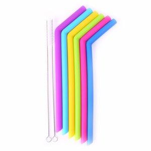 6Pcs / Set Tubo tondo in silicone riutilizzabile Curve per cannucce Include 2 spazzolini per la pulizia Nuovo C42