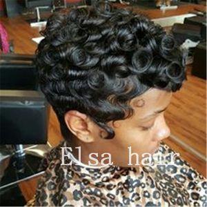 Siyah kısa Kıvırcık saç modelleri parmak dalgalar siyah kadınlar için saçsız kapaksız insan saç peruk