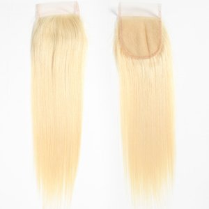 Virgin Brazilian Hair Closure 613 Blonde 4X4 Lace Cloure Straight Body Indian Peruano Malayo Extensiones de cabello humano