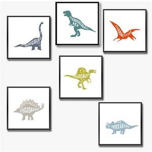 Dinosaur Decoración Lienzo Pintura Boy Room Wall Art Picture, Dinosaurio Impresión de la Lona y Póster Niño Vivero Arte Decoraciones