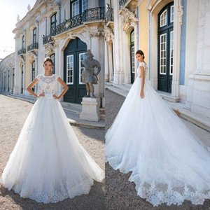 Milla Nova 2018 Newest Sheer Lace Wedding Dresses A Line Cap Sleeves Appliques Sequins Illusion Button Covered Back Church Bridal Gowns