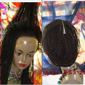 새로운 스타일 아프로 트위스트 꼰 가발 합성 내열성 black./Brown / burgundy available 합성 레이스 프론트 가발 for Black Women