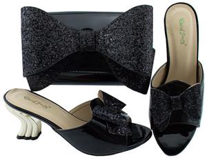 Scarpe nere da donna di alta qualità con tacco a spillo 7CM con scarpe africane bowtie e borsa per vestito YM001A