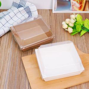 샌드위치 상자 샐러드 투명 디저트 케이크 포장 상자 투명 플라스틱 뚜껑 Kraft 골 판지 종이 선물 상자