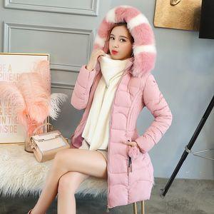 Women Winter Warm Parkas Lady Long Down Cotton Coat Female Slim Puffer Jacket Hooded Big Faux Fur Collar Outwears Abrigos Mujer