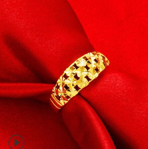 luxury jewelry designer couple rings gold color stars hollow out simple rings hot fashion free of shipping