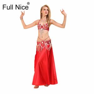 Performance Women Dancewear Professional 3pcs Outfit Bra Belt Skirt Long Oriental Beaded Belly Dance Costume