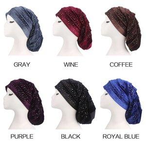 Femmes Plissé Plein Strass Velours Longue Tête Wrap Dormir Turban Hijab Extra Long Tube Dreadlock Chapeau Tête Foulard Cravate