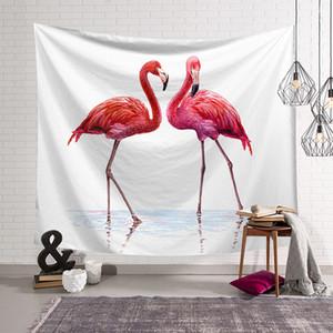 Flamingo rosa e piante esotiche Arazzo Foglie di palma tropicale Home Decor Arazzi Home Decor-Bedroom Soggiorno appeso a parete