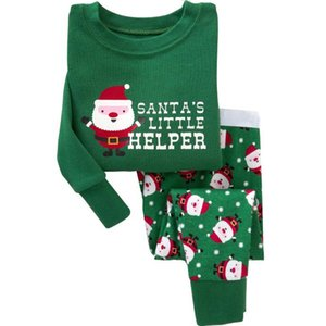 Wholesale New Fashion New Year's Gift Pajamas Clothing Set Kids Christmas Baby Santa Claus print Top+Pant winter Christmas Costume Outfit