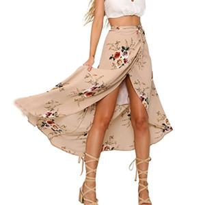 Femmes en mousseline de soie Floral jupe longue taille haute Slim Bodycon Party Jupes Femme Sexy Haute Split Midi Summer Beach Jupe 2018 H7