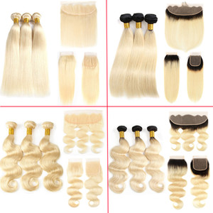 Silky Straight Blonde Malaysian Hair Weave Bundles with Frontal Closure Pure Color 613 Blonde Human Hair Extensions and Lace Frontal Closure