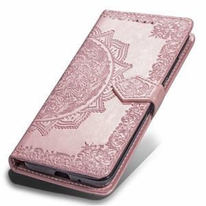 Impronta de flores Casos Monedero de cuero para Iphone 11 MAX 10 8 Nota 9 S9 Huawei P30 cubierta de encaje Pro Slot 7 6 Galaxy S10 Lite Pro Max 2019 XR XS