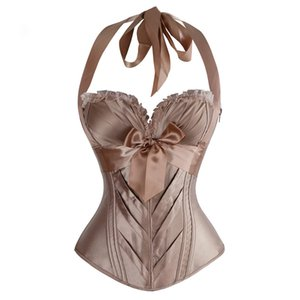 Halter elegante stampa floreale raso Overbust Lace up bustier Cincher Shaper del corpo di Corsetti e bustini Espartilho
