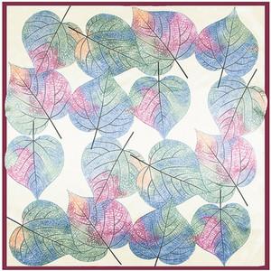 New Twill Silk Scarf Women Big Leaves Printing Office Bandana Fashion Silk Foulard Handkerchief Female Wraps&Shawls 90cm*90cm