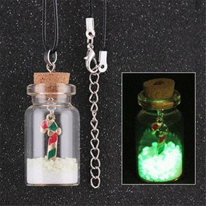 2019 desejo de vidro garrafa colar de natal luminosa árvore de natal boneco de neve floco de neve de vidro desejo garrafa pingente de colar