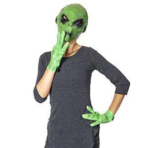 Uzaylı Maske ve Eldiven Cadılar Bayramı Gerçekçi Yeşil UFO Alien Yüz Baş Parti Cosplay Scary Halloween Maskesi