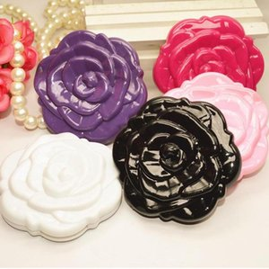 Pocket Mirror Plastic Portable Rose Flower Shape Compact Mirror Magic 3D Double Sided Fold Retro Makeup Mirrors