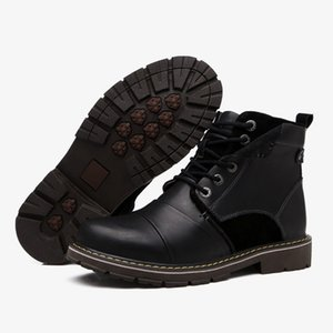 NEW Man Martin Boots Genuine Leather Winter warm shoes Men Western boots Lace-up Man Ankle boots Black Brown shoes