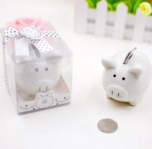 Mini salvadanaio in ceramica DHL in confezione regalo con scatola a forma di fiocco a pois per baby shower Bomboniere Regali di battesimo ns