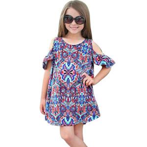 MUQGEW Yaz Elbise Bebek Kız Elbise Kapalı Omuz Baskı Bohemian Elbise Çocuk Giyim Robe Fille Enfant Kız Elbise Yaz