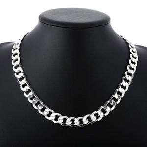 """Andara prata 925 10mm 22 """"24"""" 26 """"homens Figaro colar de corrente para homens prata 925 jóias colar grande N185"""