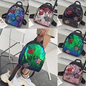 Sac de rangement de sac à main fille paillettes sac à dos enfant femmes paillettes voyage double épaules sacs à dos enfants sac d'école 22 * 28 * 19cm WX9-830