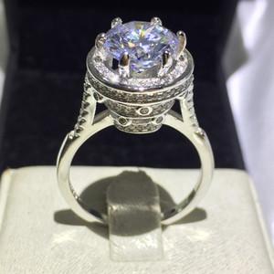 Monili di modo Handmade Solitaire 5ct birthstone 5A Zircone pietra 925 Sterling Silver Women Fidanzamento Wedding Band Ring Sz 5-10