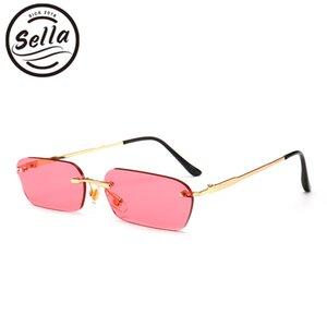 Sella Trending Hombres Mujeres Pequeño Reduzca tinte lente gafas sin montura de moda del rectángulo azul rosado lente amarilla Plaza Gafas Shade