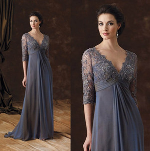 Chic Plus Size Kleider für die Brautmutter Halbarm a-line V-Ausschnitt Empire-Taille Kleid für die Brautmutter mit Bodenlangem Chiffon Abendkleider