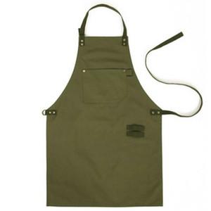 Armée Vert Denim Style Tabliers Restauration Cuisine tablier Unisexe Femme Hommes Mâle Dame Cuisine Restaurant Barista Travail Tablier Delantal