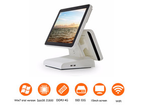 HSPOS 15 inch All in one POS cash Register Dual Screen pos system for Coffee Shop supermarket Support Restaurant Run any software