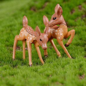 Искусственный Mini Sika Deer Жираф Fairy Garden Миниатюрные Гномы Мосс Террариумы Смола Craft Статуэтки Украшение Micro пейзаж Декор