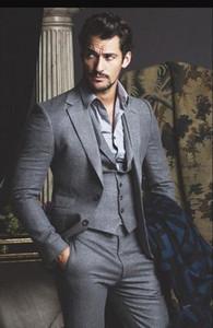 Grey Men atest Coat Pant Designs Grey Tweed Suit Men Formal Skinny Prom Classic Winter Tuxedo Custom Blazer Masculino 3 Piece
