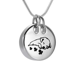 DJX9941 Sleeping Dog Collier Crémation Forme Ronde Memorial inoxydable Pet acier Pendentif Urne funéraire Keepsake bijoux pour Ashes
