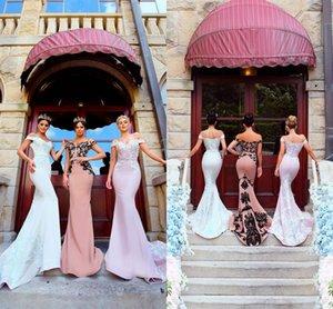 Modest Country Style weg von der Schulter Mermaid Long Brautjungfer Kleider 2018 Spitze Applizierte Zipper Elegante lange Sweep Zug Maid Of Honor Kleid