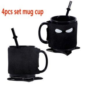 Copa de taza de ninja Taza de café de cerámica con cucharón Coaster Mats Ninja Máscara Té de leche Taza de bebida Barra de cocina Herramientas XMAs Halloween 4pcs / Set HH7-1327