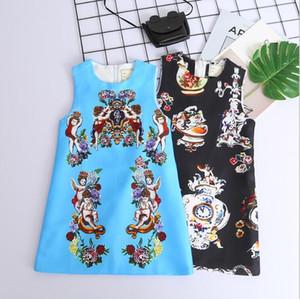 Populaire Logo Bébé Fille Robe Marque Designer Lettre Imprimer Mignon Ange Sans Manches Bébé Fille A-Line Robes Enfants Vêtements