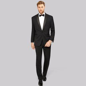 2018 Men Suits Black Shawl Lapel Business Wedding Suits Slim Fit Formal Tuxedo 2Piece Custom Made Blazer Prom Best Man Evening Dress Party