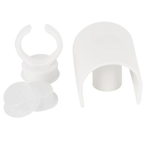 Tazza di trucco Anello Bianco Piano di plastica Pigmenti Pigmenti Inchiostro Dispositivo semi-permanente Set di inchiostro per ciglia Innesto innestato Vassoio per colla