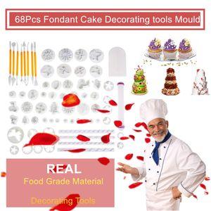 새로운 68pcs 케이크 베이킹 쿠키 금형 퐁당 설탕 공예 장식 플런저 커터 도구 케이크 장식 꽃 패턴 클레이 모델링 키트를 붙여 넣기