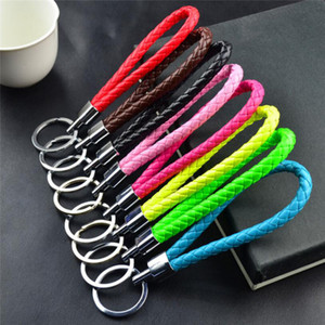 Hot sale Keychains colorful PU leather braided keychain Key Ring keyfob Cute Promotion Gifts keychains wholesale