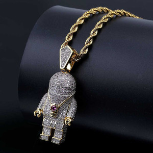 Hip Hop Street Fashion cor do ouro Colares Spaceman Micro Pave Zircon Iced Out Astronaut Colar Pingente por Homens