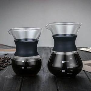 400 ml Haut en verre borosilicate Dripping Cafetière en acier inoxydable Double Filtre Silicone manchon en caoutchouc 9.5x15x6cm