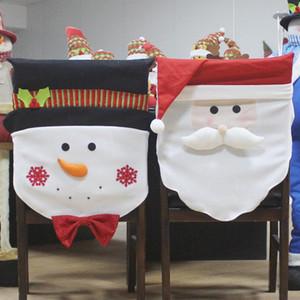 Housse de chaise de Noël pochette cadeau M. Santa / bonhomme de neige Noël Party Party siège à la maison chaise table de fête affaire housse décor