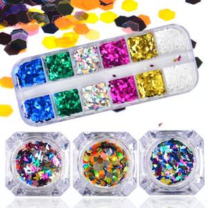 LCJ Nail Sequin Thin Paillette Diamond / Butterfly / Hexagon Chunky Polishing Sirena Lentejuelas Paillette Nail Flakes Glitter Set
